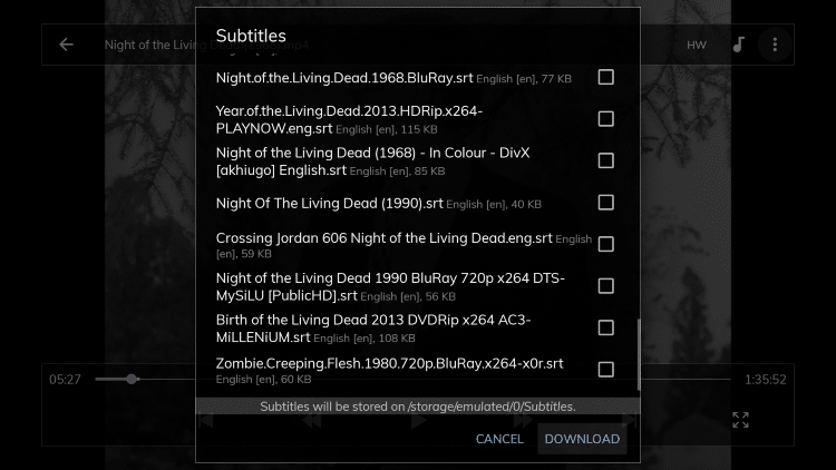 Once you select a subtitle option scroll all the way down and click Download.