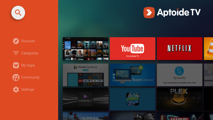 Once on the home screen of Aptoide TV, click the search icon in the top left.
