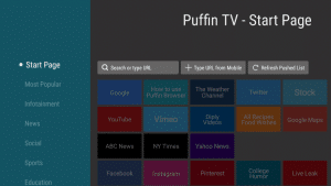 puffin tv interface