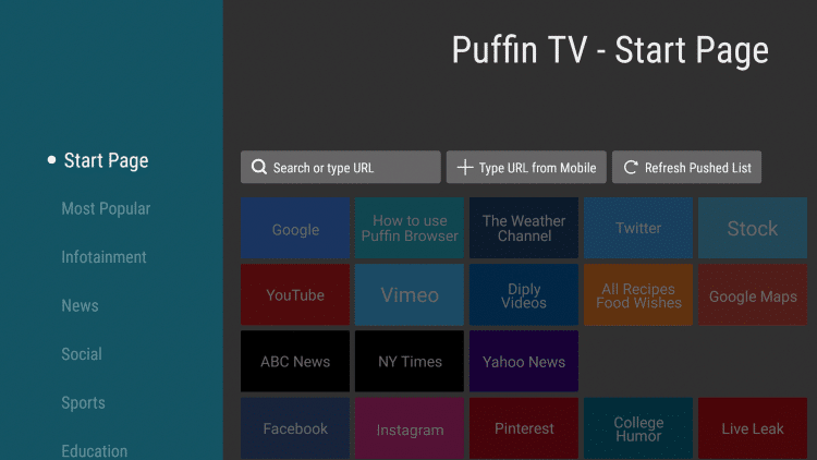 puffin tv user interface
