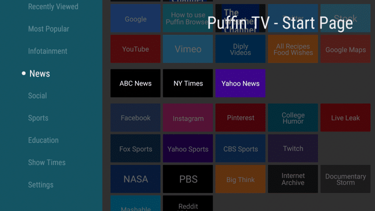 puffin tv categories