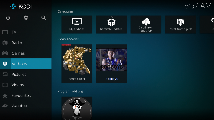 Once the Rooboys Video add-on has been installed go back to the Home screen of Kodi. Click Add-ons