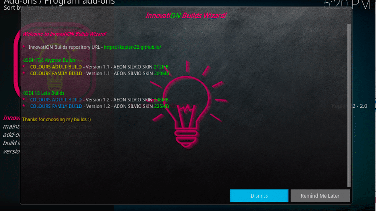 Step 26 - How to Install Innovation Colors FamilyBuild on Firestick, Fire TV & Android TV Box