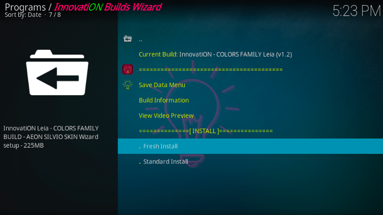 Step 33 - How to Install Innovation Colors FamilyBuild on Firestick, Fire TV & Android TV Box