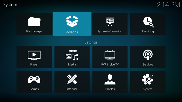 Click the back button on your remote until you are on the System screen. Then click Add-ons