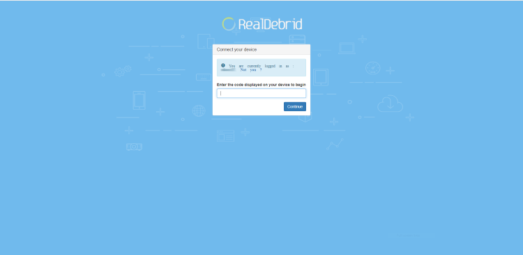 Open an Internet browser on another device and go to https://real-debrid.com/device