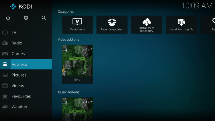 Once the Borg Video add-on has been installed go back to the Home screen of Kodi.