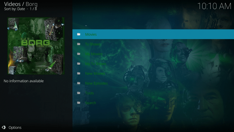 Launch the Borg Kodi Addon.