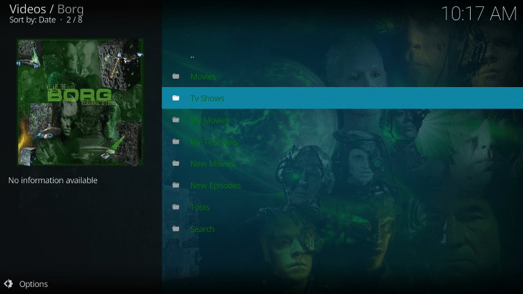 borg kodi addon categories