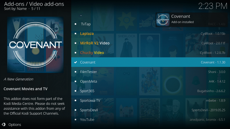 Wait a minute or two for the Covenant Kodi add-on to install