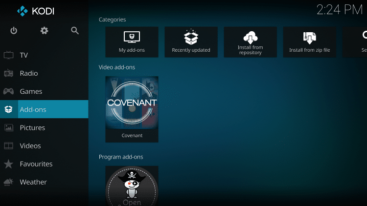 Once the Covenant Video add-on has been installed go back to the Home screen of Kodi