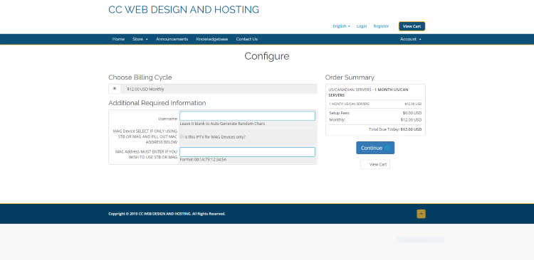 You will then be directed to the Configure page. Create a Username, double check your order, and click Continue.