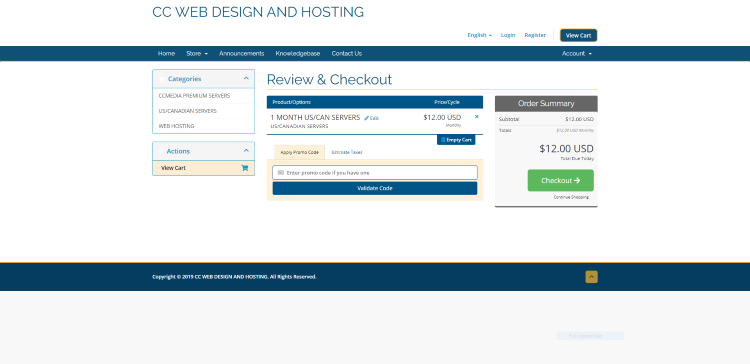 You are then directed to the Review & Checkout page. Double check everything and click Checkout.