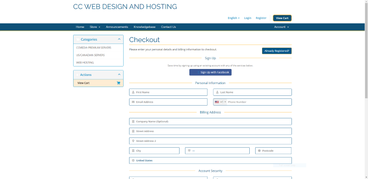 Once on the Checkout page, fill out the required billing details.