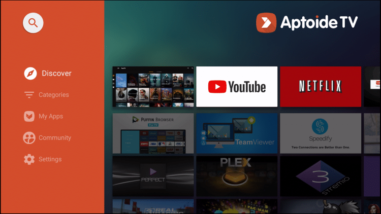 aptoide tv home screen