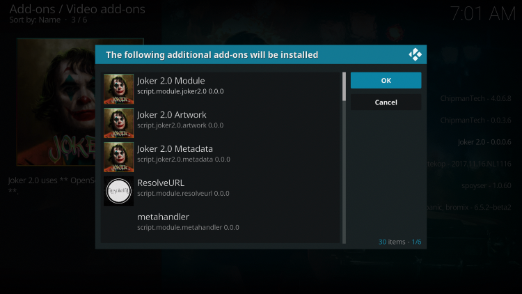 """When prompted with """"The following additional add-ons will be installed"""" message click OK"""