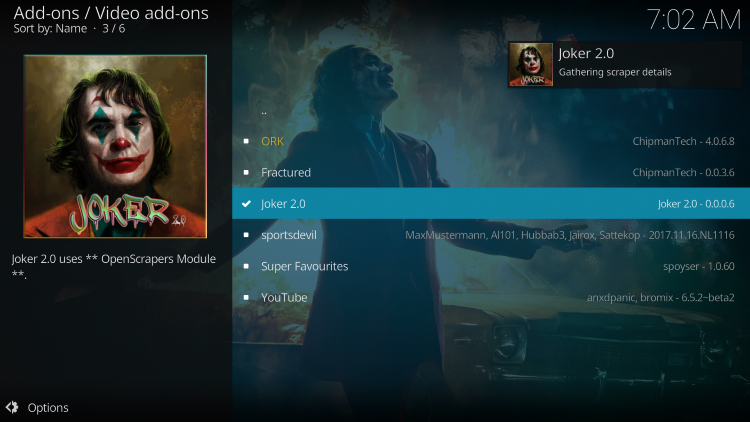 Wait a minute or two for the Joker 2.0 add-on to install