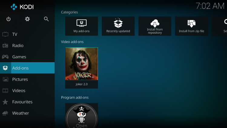 Once the Joker 2.0 Video add-on has been installed go back to the Home screen of Kodi