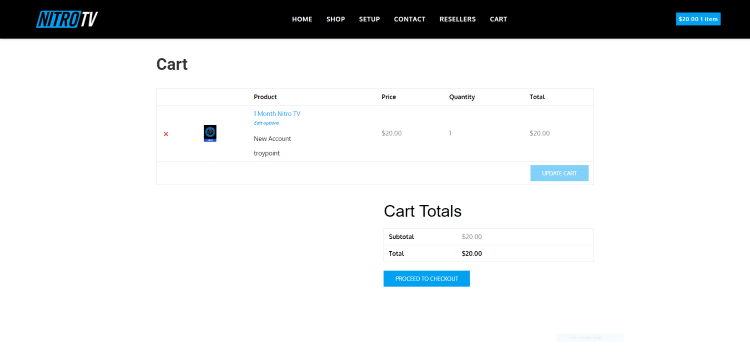 Once on the Cart page, click Proceed to Checkout.
