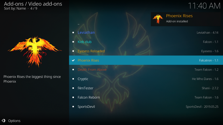 Wait a minute or two for the Phoenix Rises add-on to install