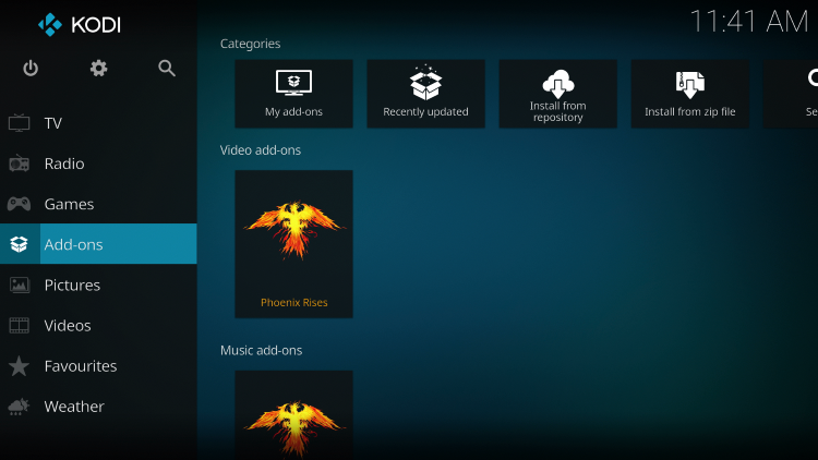 Once the Phoenix Rises Video add-on has been installed go back to the Home screen of Kodi