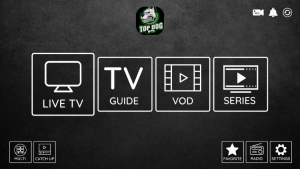 top dog iptv home screen