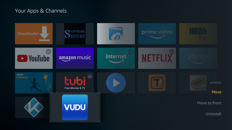 Scroll down to hover over Vudu and click the Options button (3 horizontal lines). Then click Move to front.
