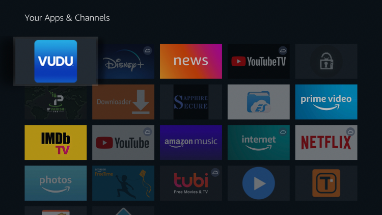 Vudu is now moved to the front of Your Apps & Channels.