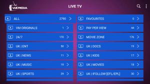 vue media live tv categories