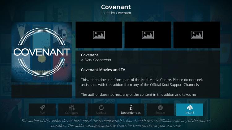 Click Install covenant kodi