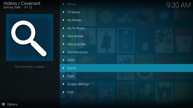 Return back to Covenant and search for a Movie or TV Show. Select Search at the bottom of the main screen.