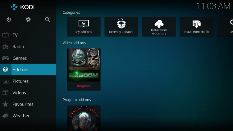 Once The Kingdom Video add-on has been installed go back to the Home screen of Kodi.