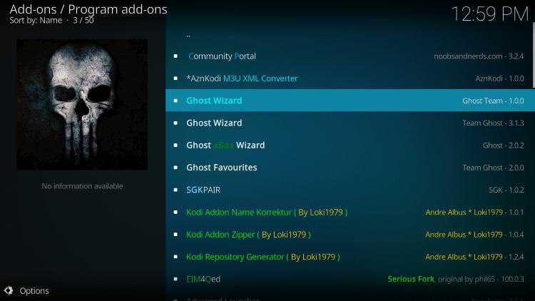 kodi ghost repo program addons