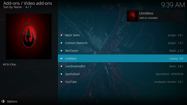 Wait a minute or two for the Limitless Kodi add-on to install