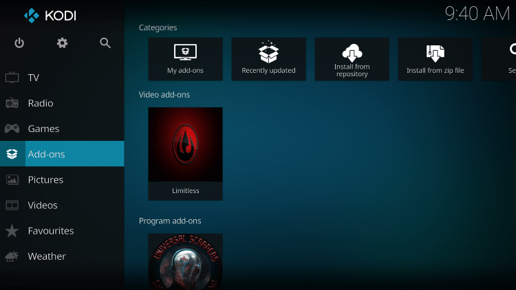 Once the Limitless Video add-on has been installed go back to the Home screen of Kodi.
