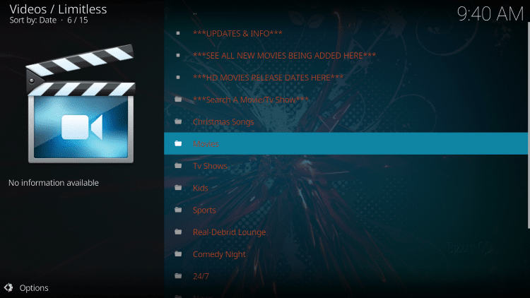 That's it! The Limitless Kodi add-on is now successfully installed