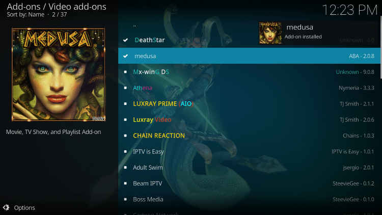 Wait a minute or two for the Medusa Kodi add-on to install