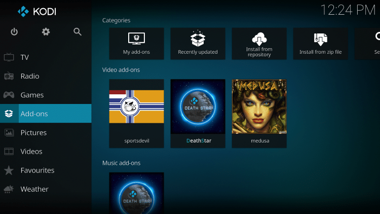 Once the Medusa Video add-on has been installed go back to the Home screen of Kodi.