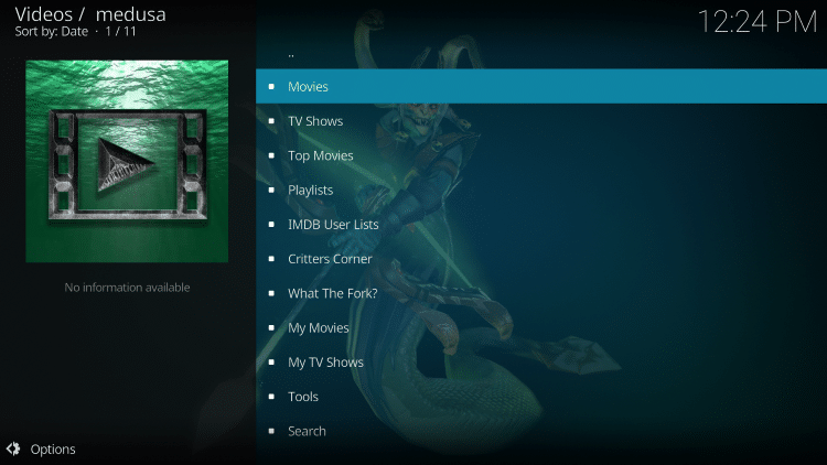 That's it! The Medusa Kodi add-on is now successfully installed