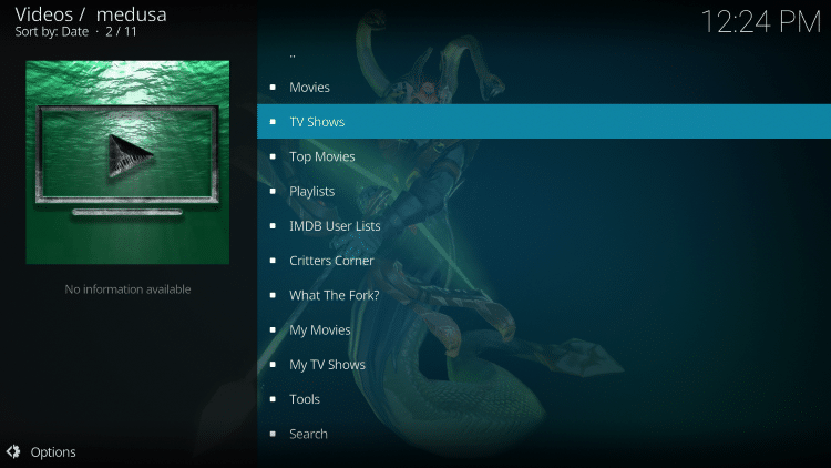 medusa kodi addon categories