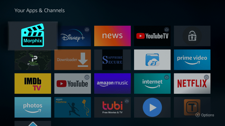 Morphix TV is now moved to the front of Your Apps & Channels.