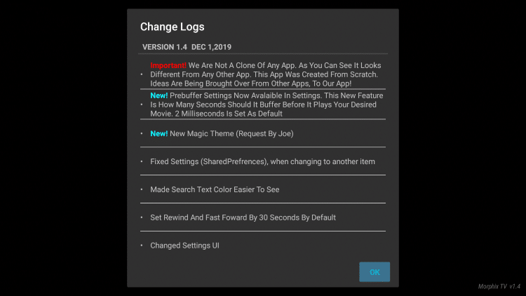 You will then see a Change Log appear. Feel free to read the various updates and click OK.