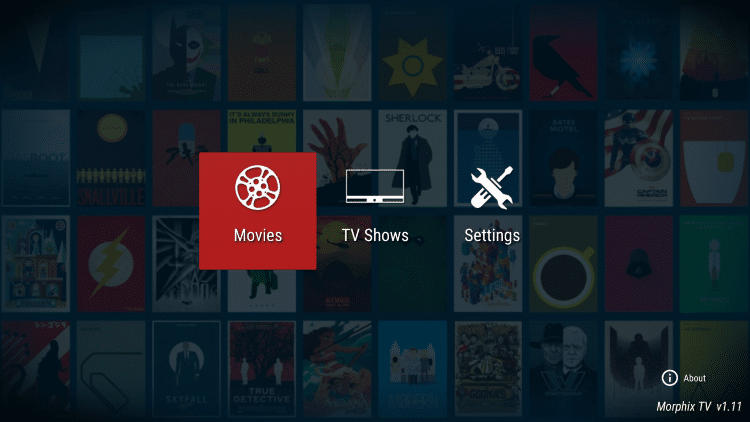 Return back to the Morphix TV Home screen and select a Movie or TV Show you want to play.