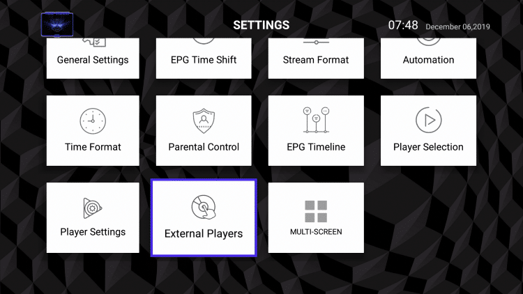 Scroll down and select External Players.