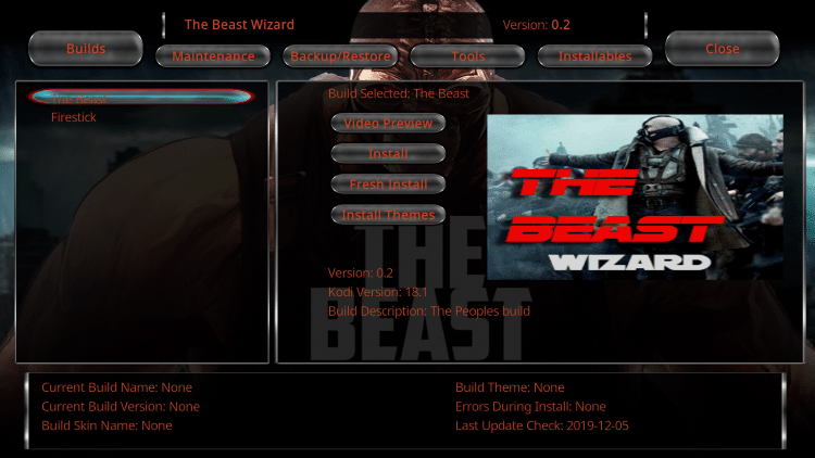 Choose The Beast option on the left menu.