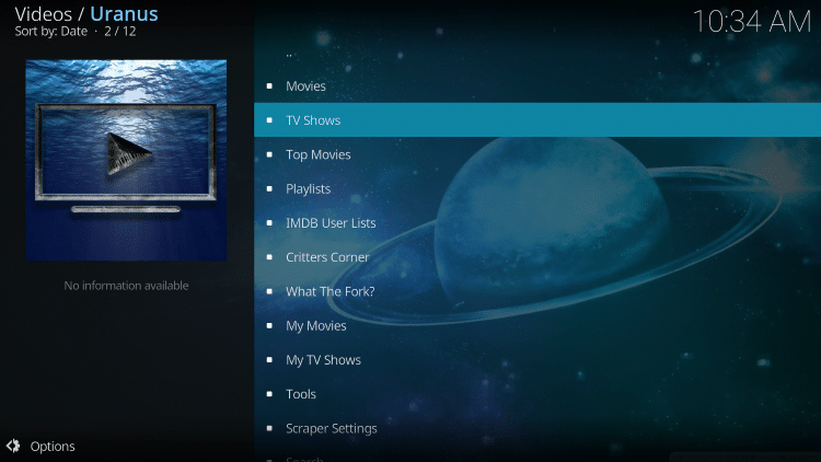 Launch the Uranus Kodi Addon.