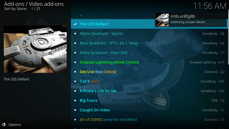 Wait a minute or two for The USS Defiant add-on to install