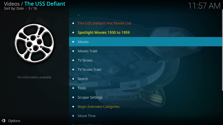 the uss defiant kodi addon categories