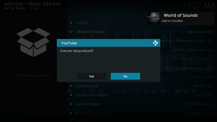 If this message appears select No.