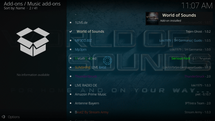 Wait a minute or two for the World of Sounds add-on to install